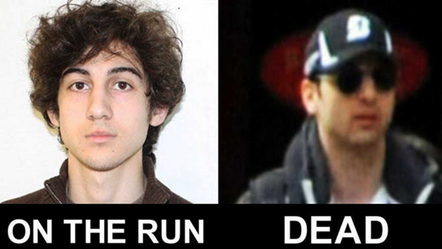 Dzhokhar Tsarnaev, left, is on the run. His brother, Tamerlan Tsarnaev, right, is dead.