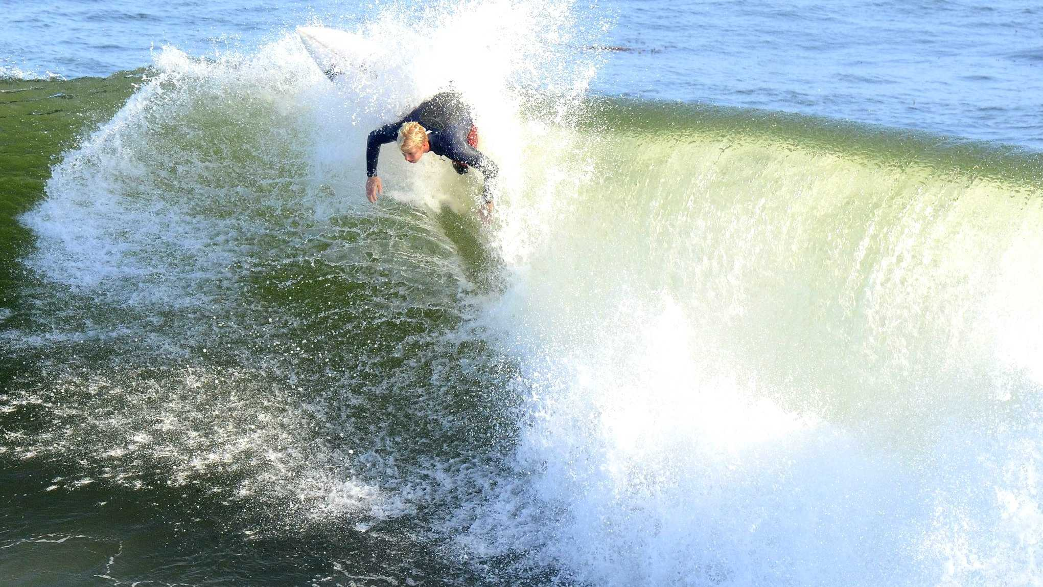 Nat Young is seen during a recent surf sesh in Santa Cruz.