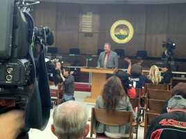 A small watch party was held at Santa Clara City hall for the Superbowl L hosting annoumcenet.