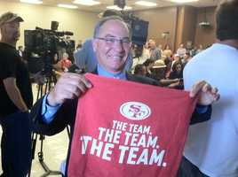 A small watch party was held Tuesday at Santa Clara City Hall for the Superbowl L hosting annoucement.