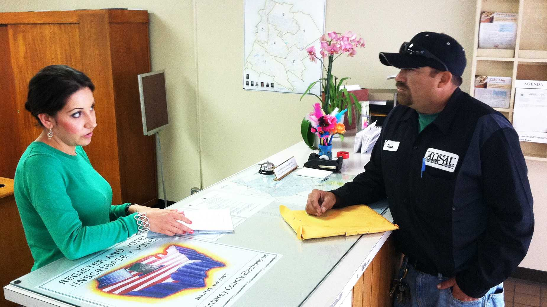Juan Sandoval hands in a petition to recall Jose Castaneda from his District 1 Salinas City Council seat.