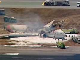 Television footage showed the top of the fuselage was burned away and the entire tail was gone.