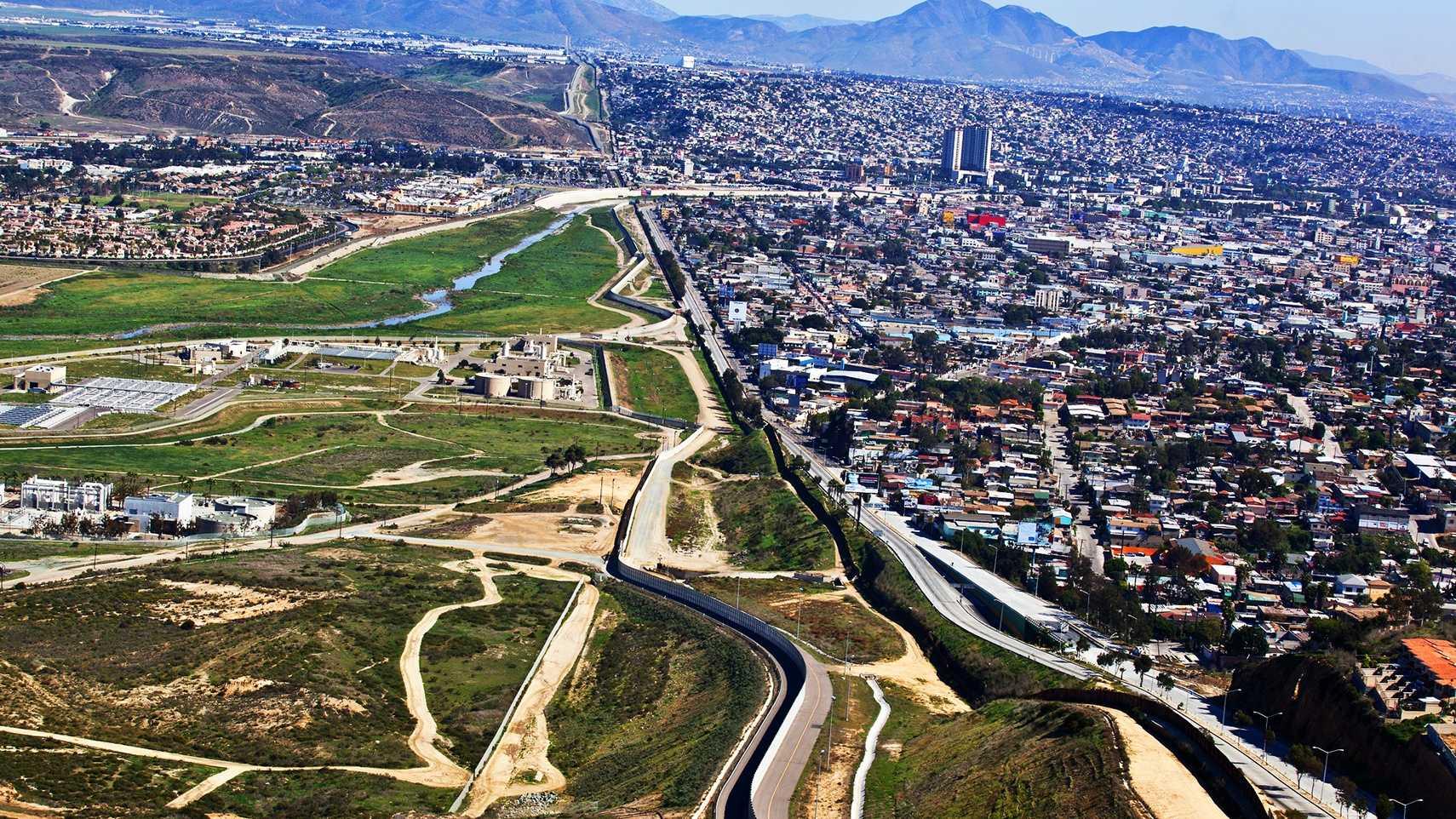 A fence that runs along the U.S.-Mexico border near San Diego.