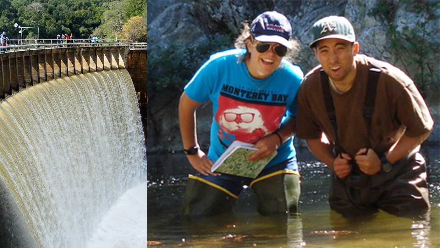 Graduate student Sheldon Leiker, left, and undergraduate August Delforge don't mind getting their feet wet in the name of environmental science.