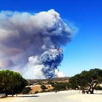 Smoke from a controlled burn at the former Fort Ord Army training base was spotted by residents on all sides of the Monterey Bay Monday.