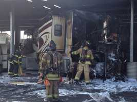 A Salinas man who went home to get jumper cables to start his motor home came back to the storage yard where it was stored to find it engulfed in flames.