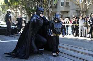 Miles Scott, seen on the right in a Batman costume Friday, is a leukemia cancer patient who's in remission.