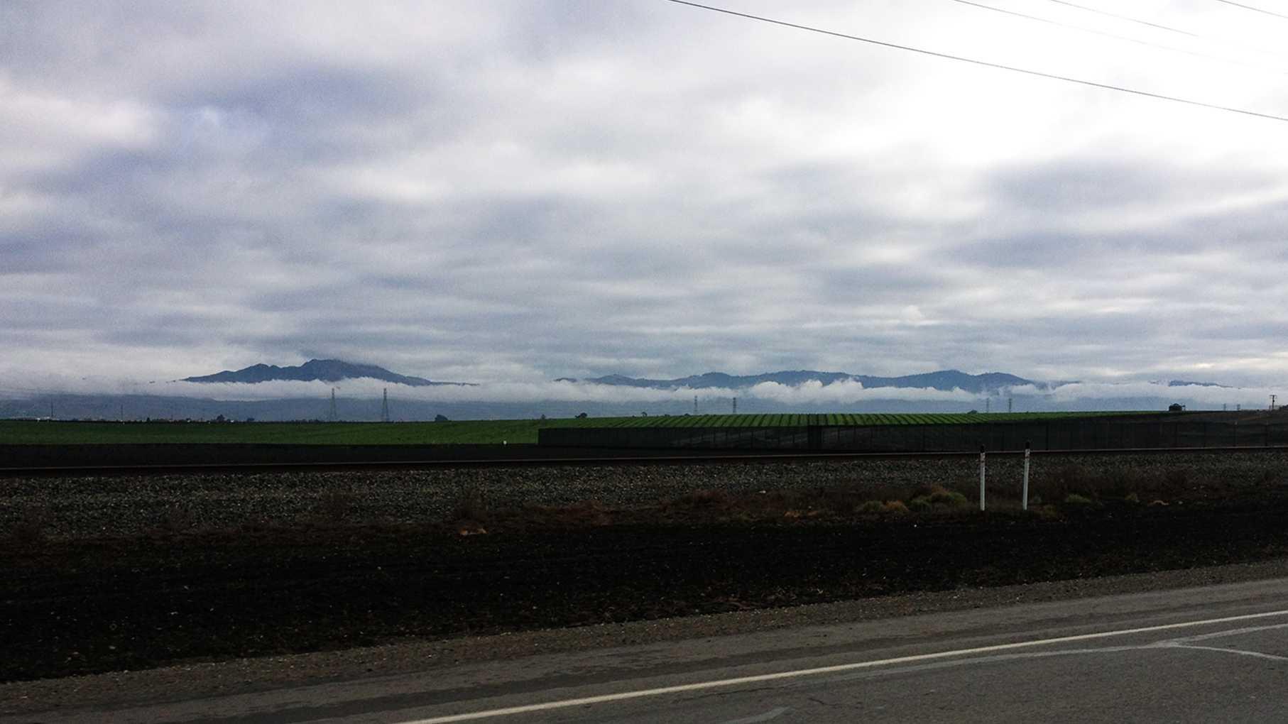 Rain clouds move past the Salinas Valley. (Nov. 21, 2013)