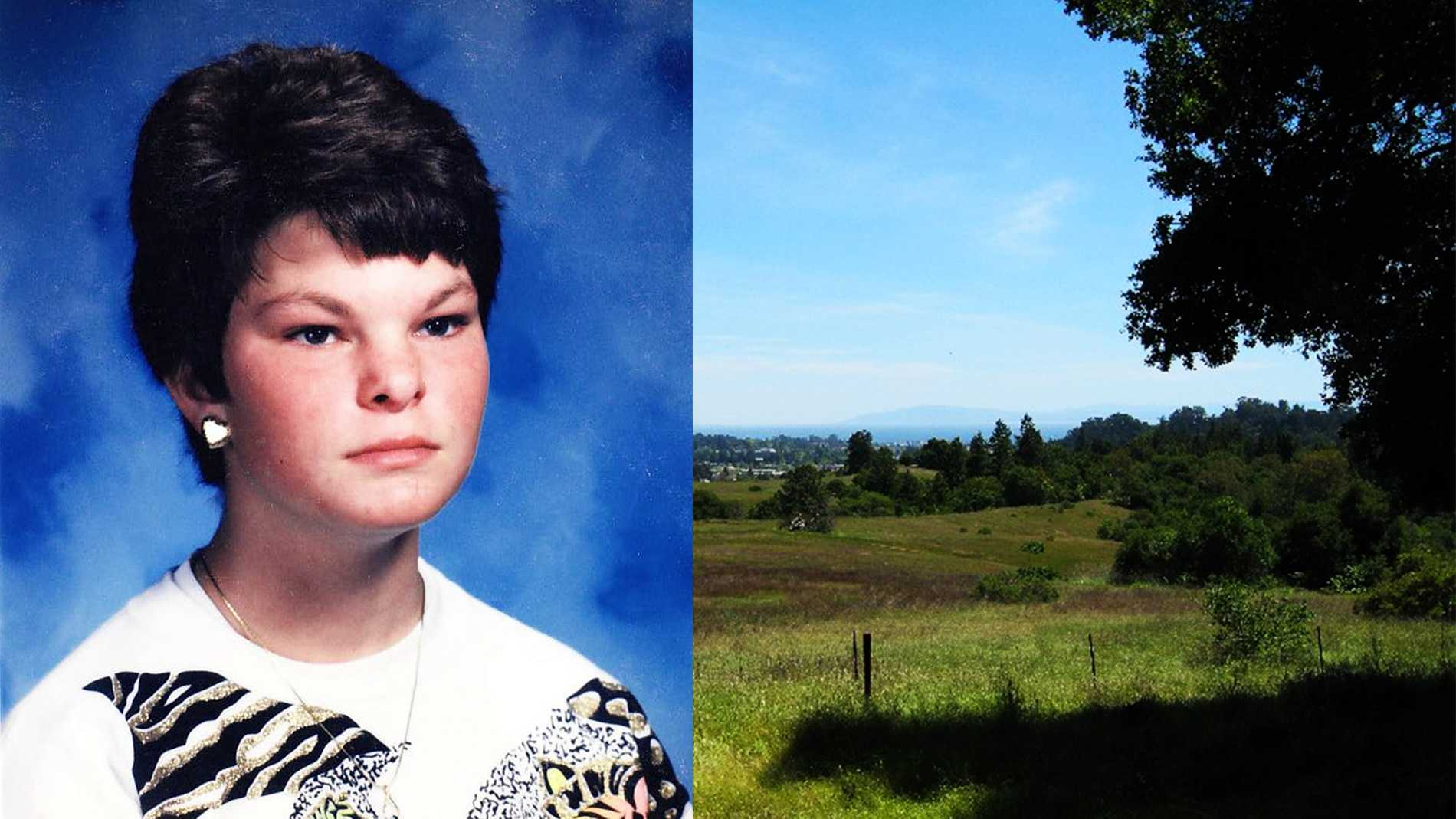 Kori Joann Lamaster, left, is seen in a high school yearbook photo. Her body was found in Santa Cruz's Pogonip Park, right.