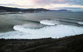 A large Atlantic Ocean swell pumped consistent big waves with 30-foot faces into Spain's Punta Galea Harbour point for a Big Wave World Tour contest held on Dec. 21, 2013.