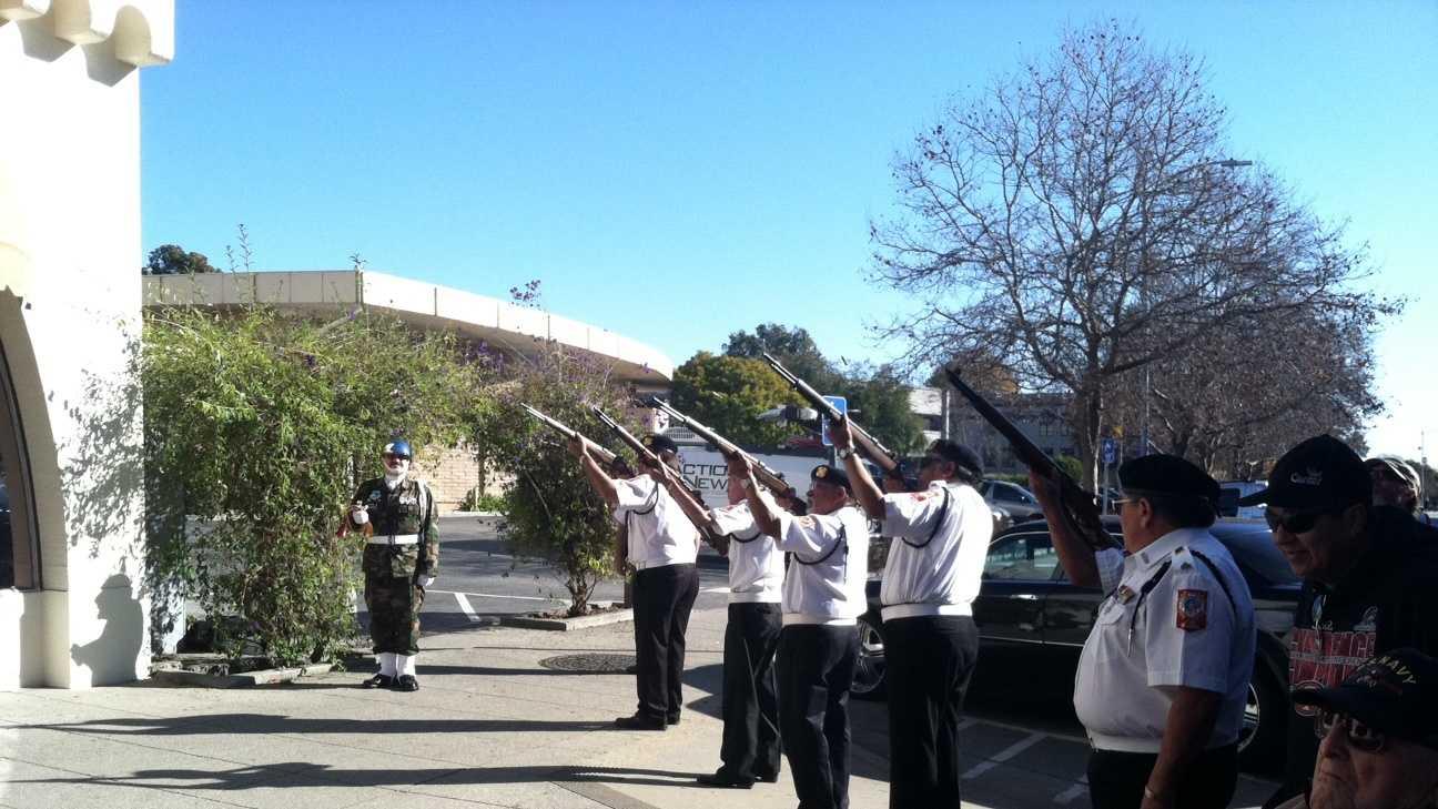 Vets borrow rifles to re-dedicate Veterans Memorial Building