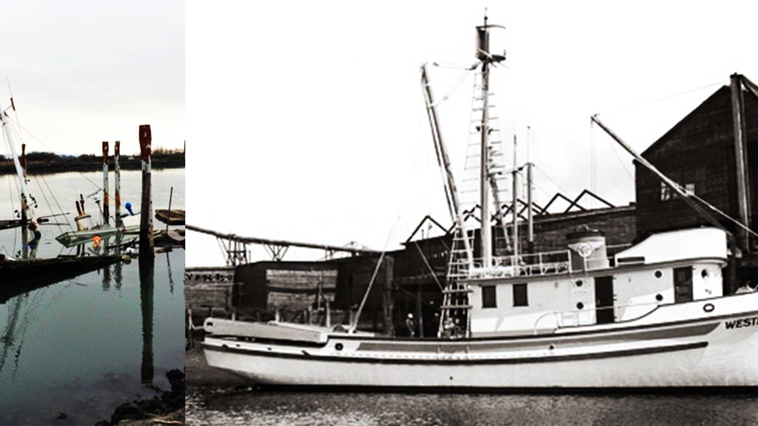 The Wester Flyer is seen when it sunk, left, and back when it was sturdy fishing boat, right.