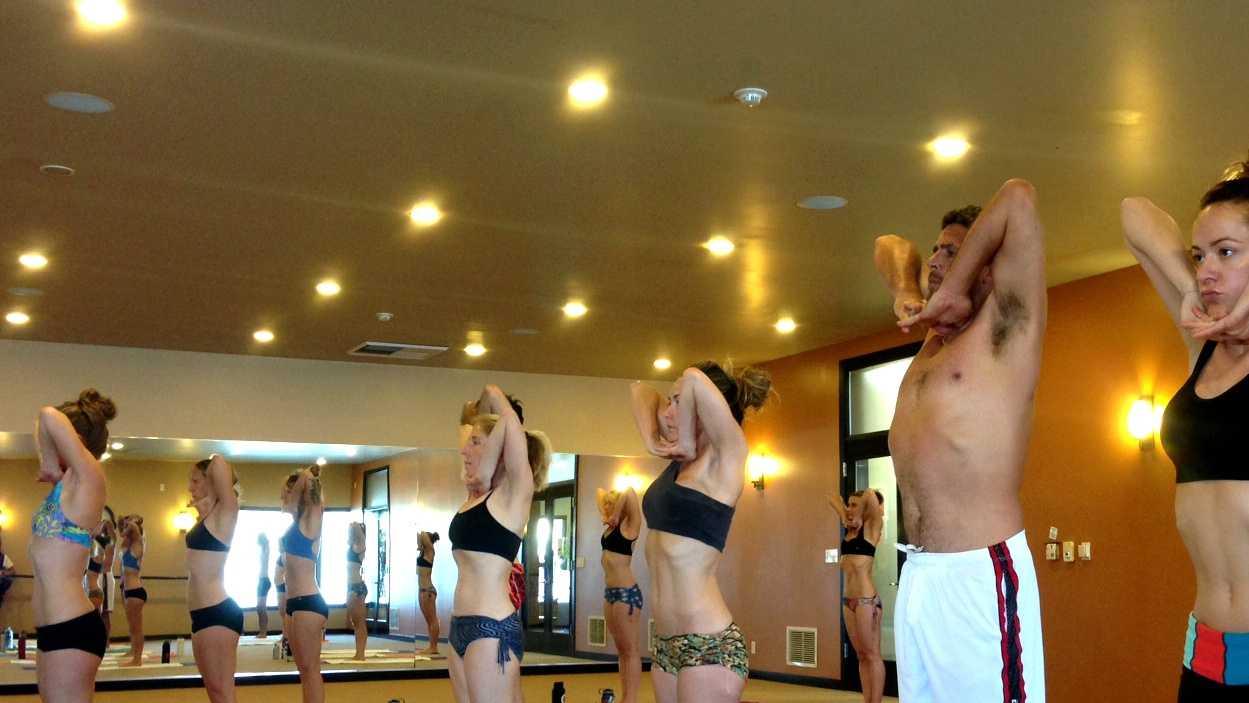 Mavericks defending champion Peter Mel did hot yoga in Aptos the day before Friday's 2014 Mavericks Invitational.