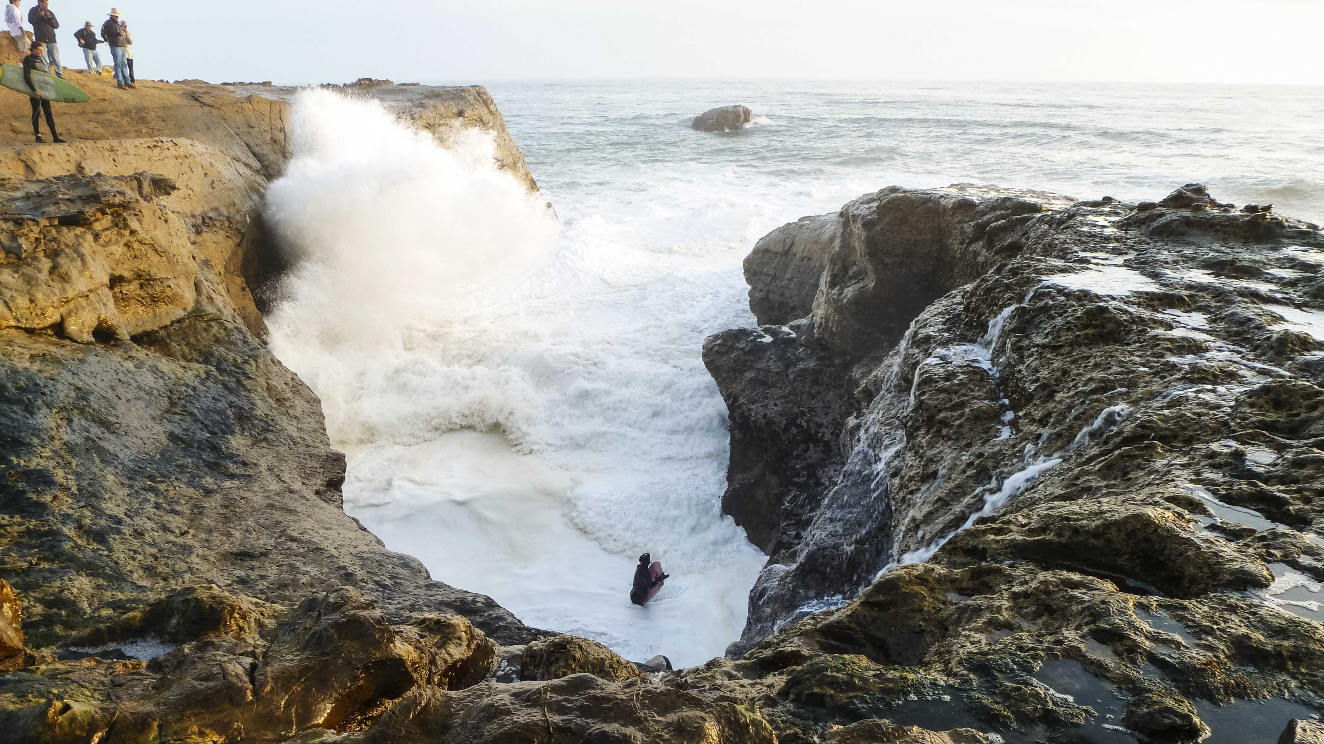 A boogie boarder was sucked into this cove next to Steamer Lane in Santa Cruz. (Jan. 24, 2014)
