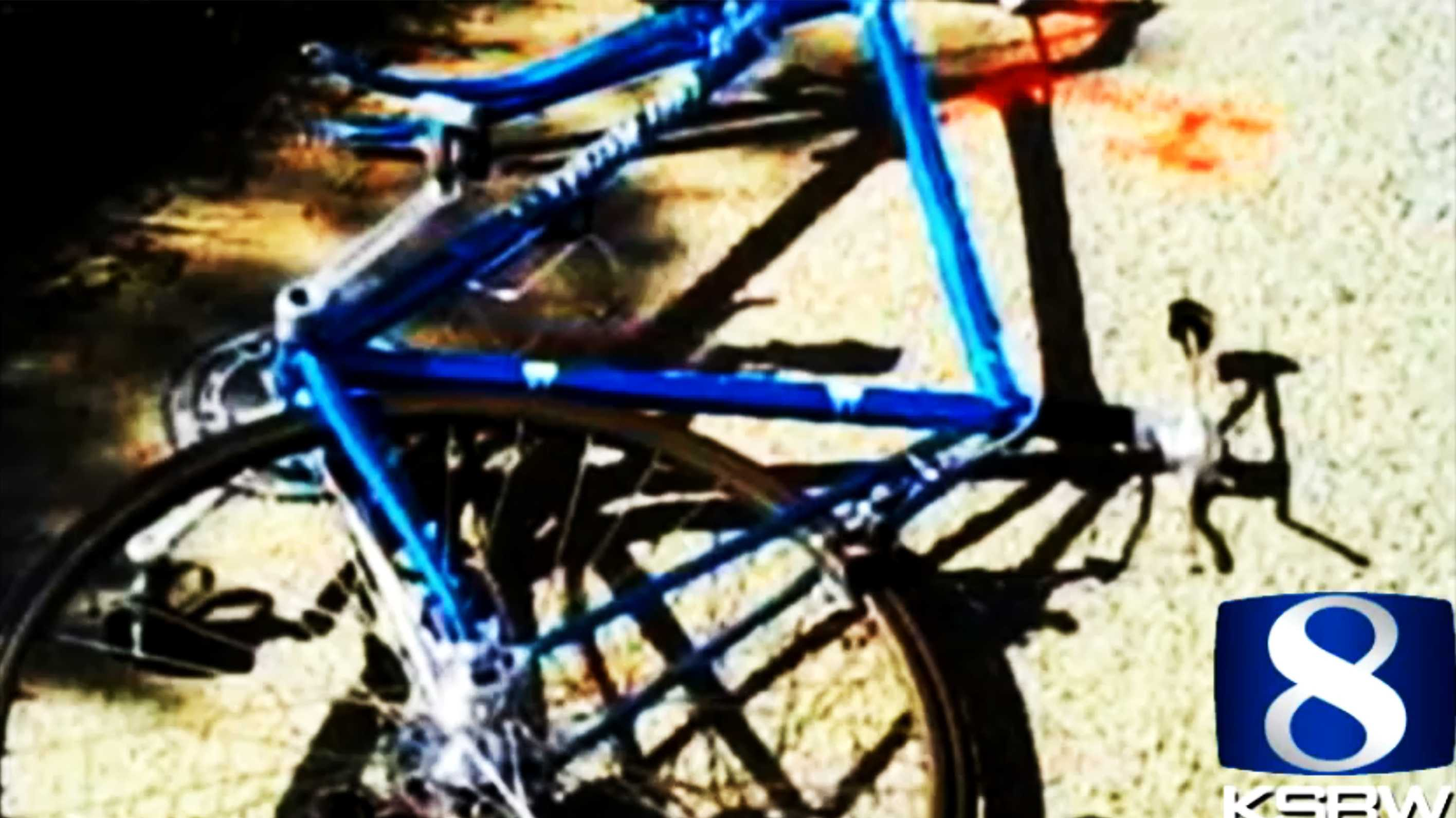 Joshua Alper's blue bicycle is seen after the crash.