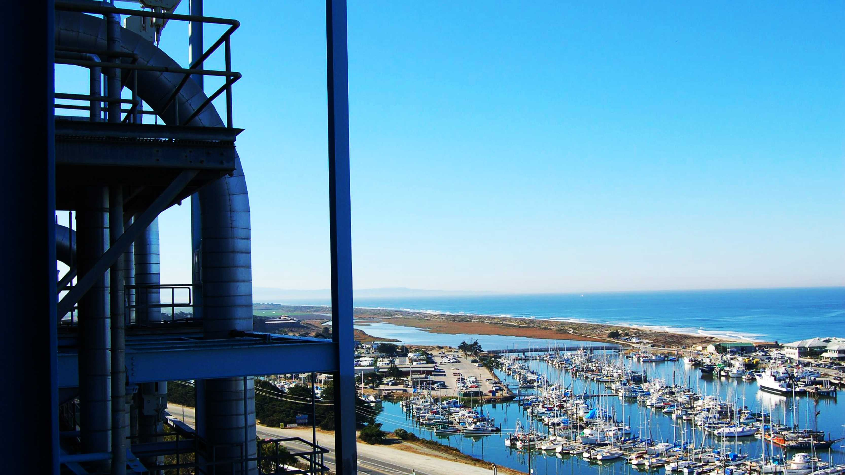 The tiny fishing town of Moss Landing is seen from a perch on the Moss Landing Power Plant.