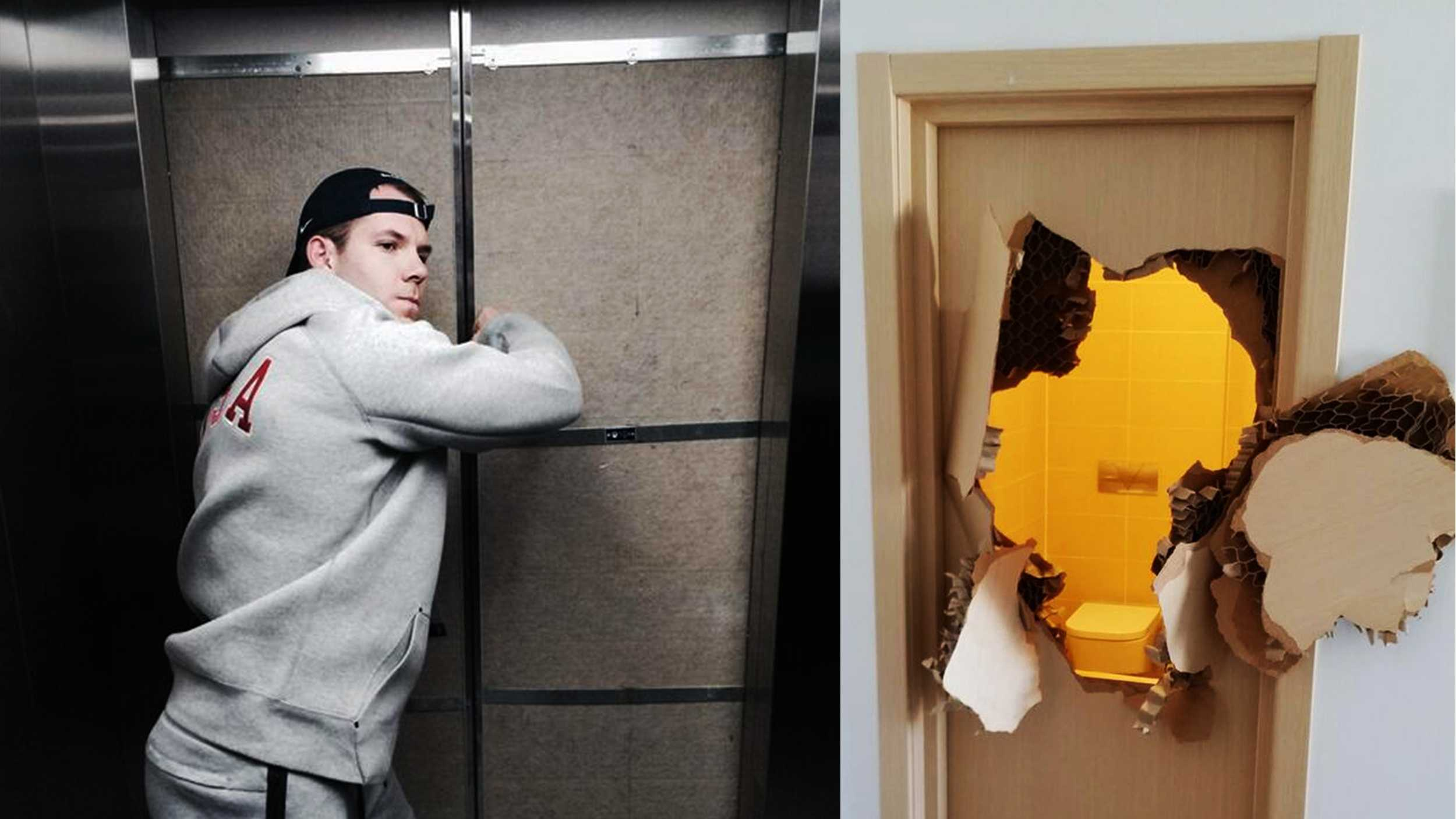 Left: Johnny Quinn tries to escape from an elevator. Right: A bathroom door is destroyed from Quinn's escape.