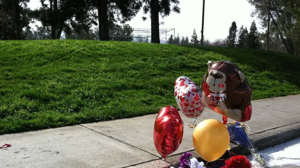A makeshift memorial was set up near the Gilroy park where a man was fatally shot Tuesday night.