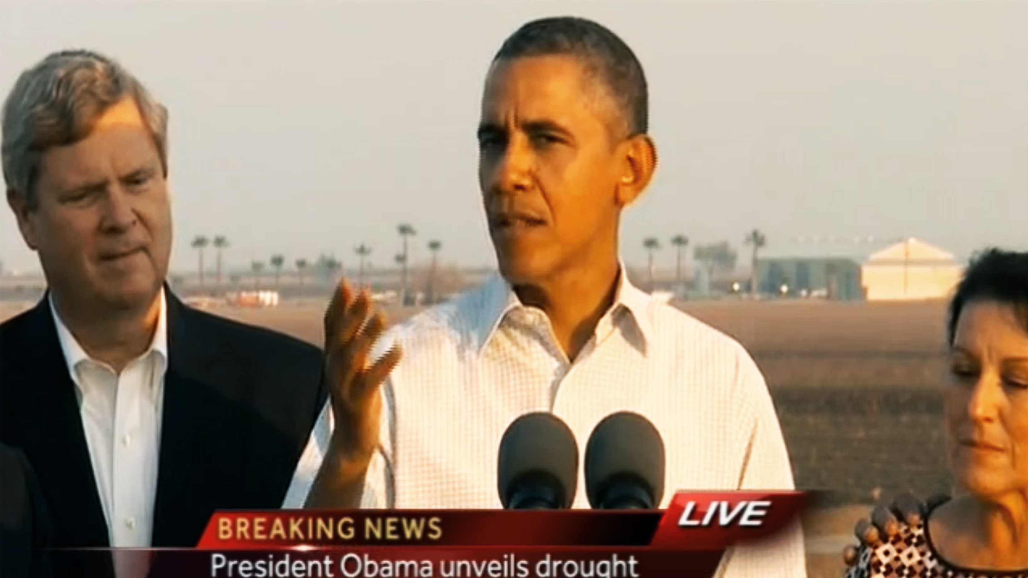 President Barack Obama delivered a speech in Fresno on Friday about California's drought. (Feb. 14, 2014)