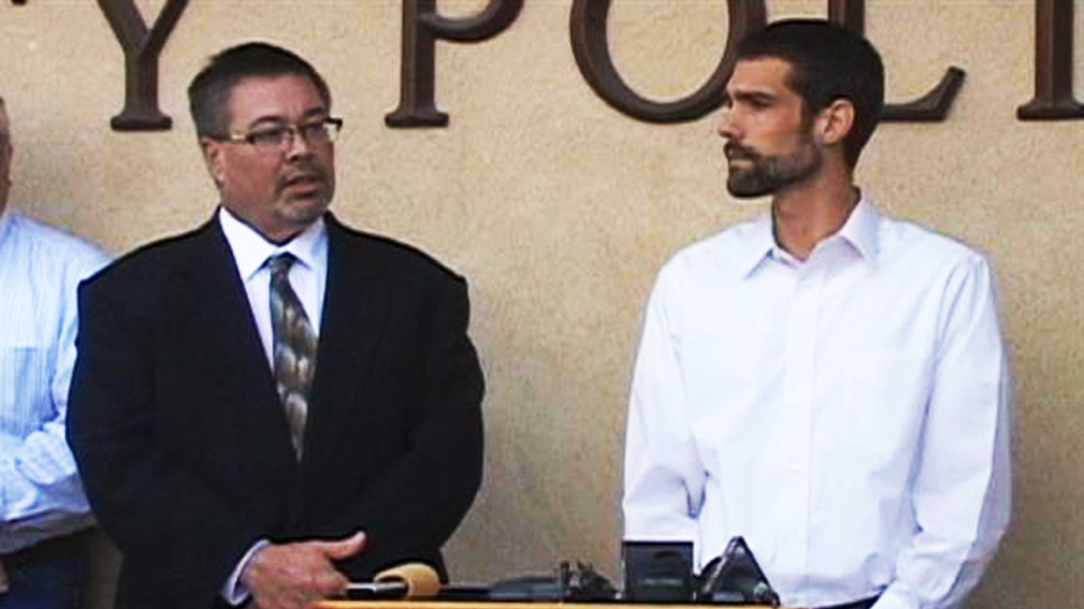King City Mayor Robert Cullen, right, speaks at a press conference on the King City bust.