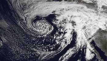 This image was shot Feb. 28, 2014 of a deep closed upper-level low over the Eastern Pacific swirling toward California. The system will stream moisture from the Pacific into California producing moderate to heavy rain over Central California on Friday waning to light rain by Saturday.