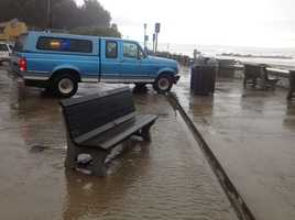 Water fills the streets of Capitola Saturday.