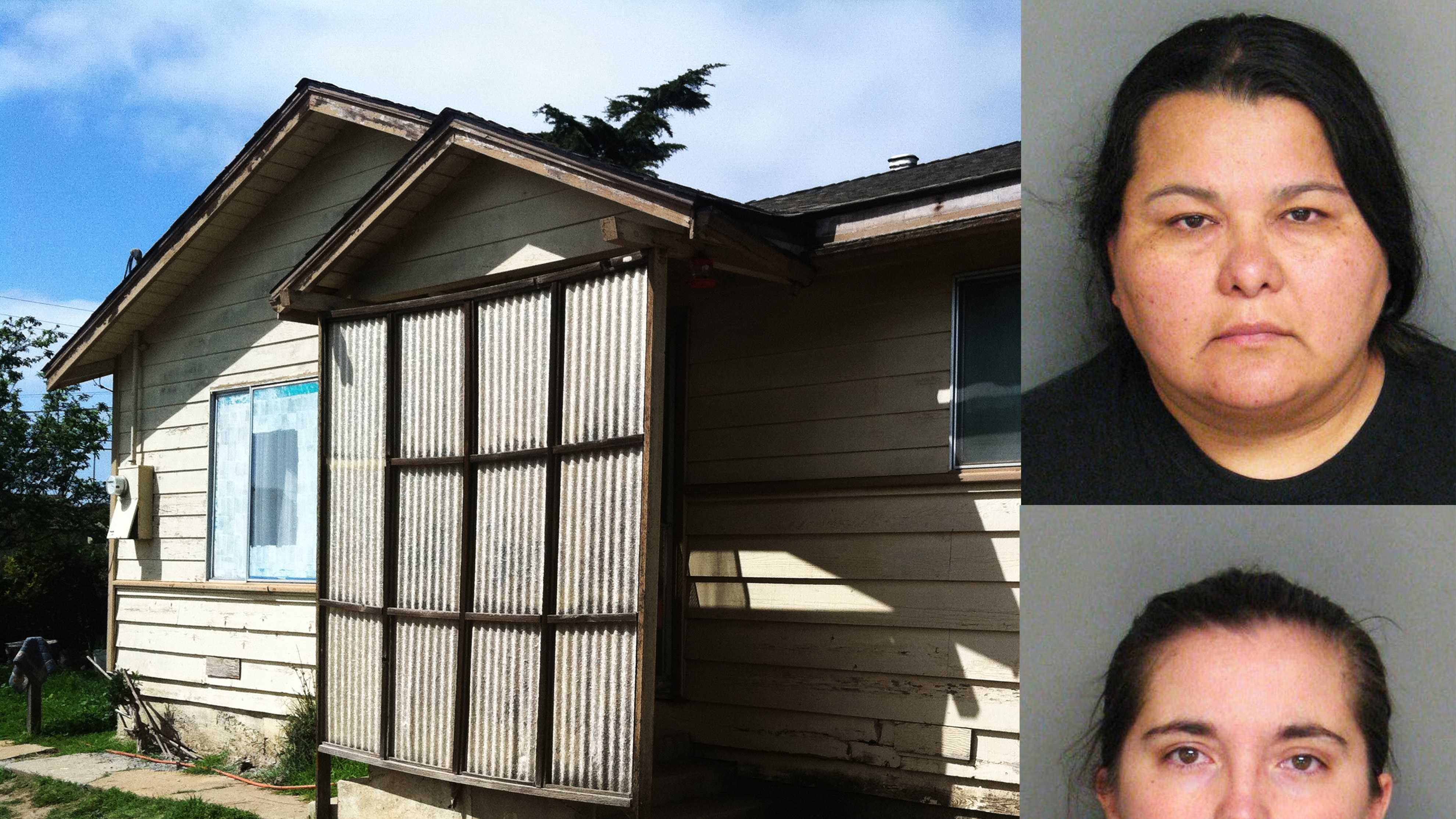 Eraca Craig, bottom, and Christian Deanda, top, lived in this Salinas house with three children.