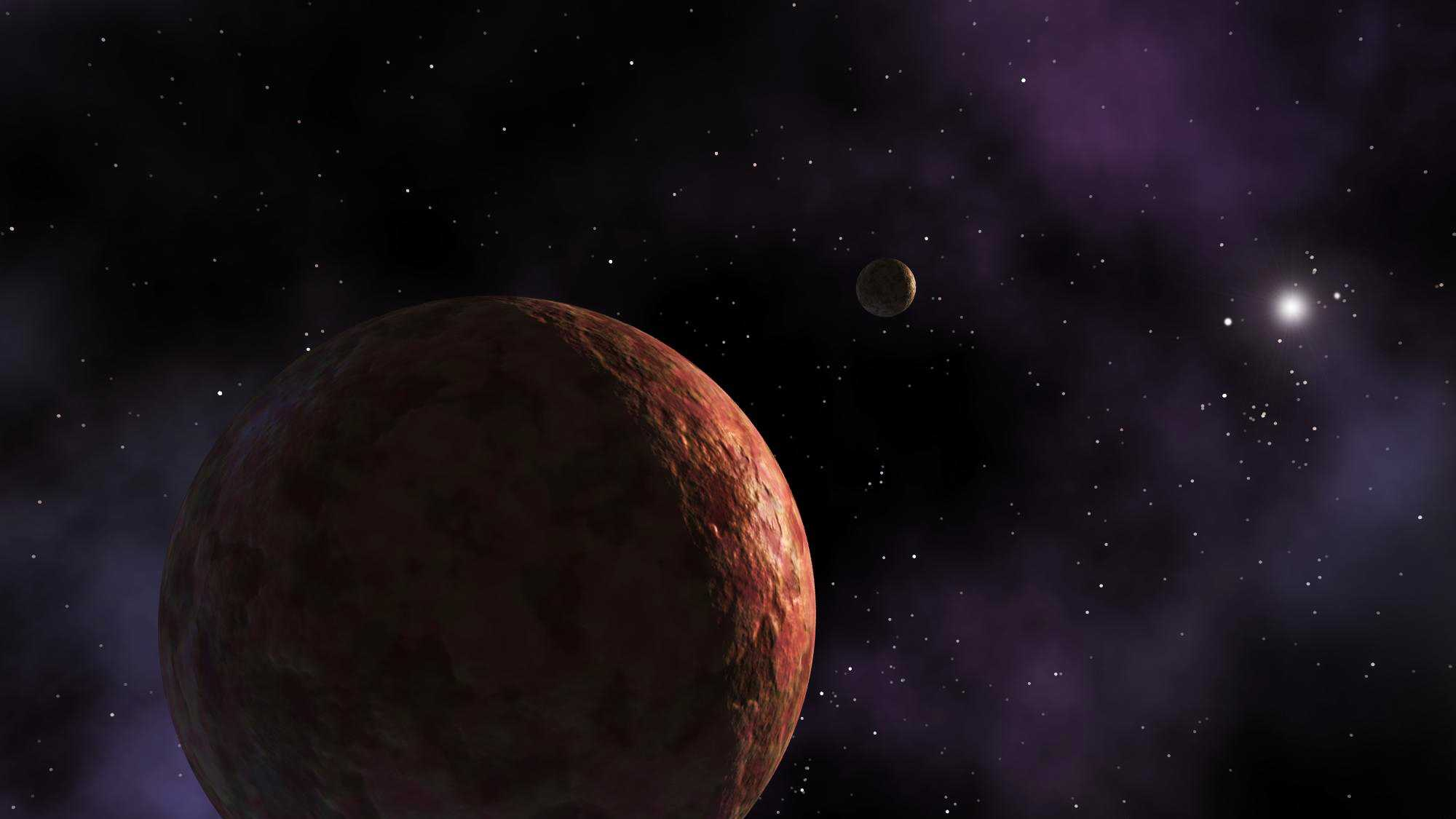 An artist's conception shows Sedna, a dwarf planet located in the same distant area of the solar system as the newly discovered dwarf planet.