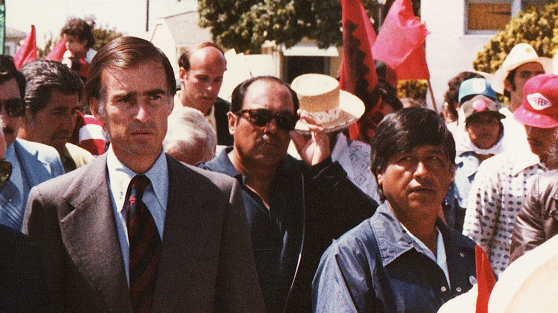 Cesar Chavez, right, marches in Salinas with Gov. Jerry Brown, left, in 1979.