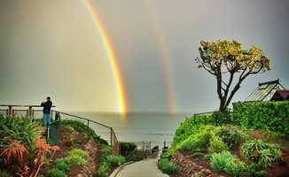 Sabine Dukes shot this double rainbow from Privates Beach in Santa Cruz on March 31, 2014.