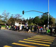 Campus police armed with riot gear asked the students to disperse from the university's west entrance on Empire Grade Road three times. When they did not, they were arrested for blocking access to the school.