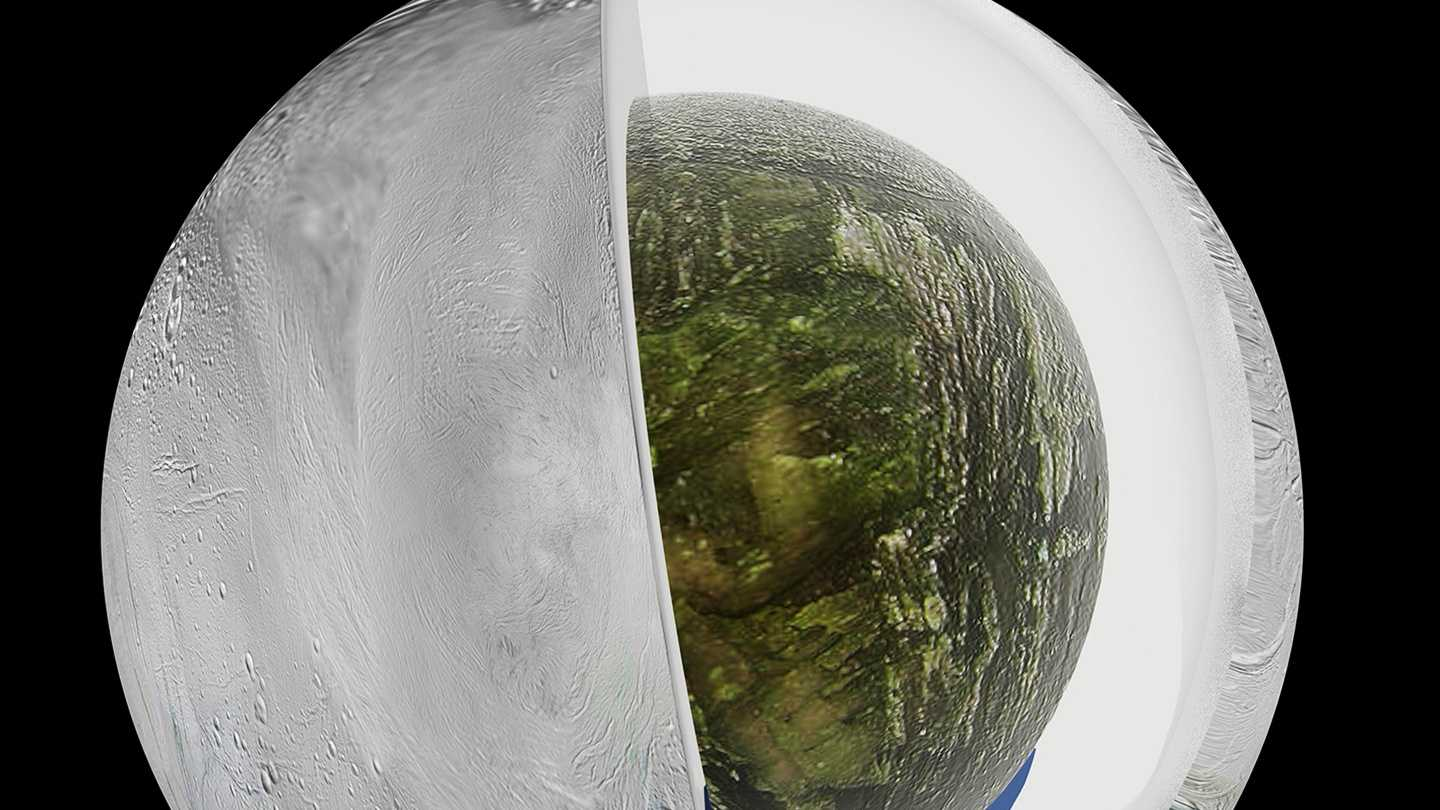 Saturn's moon Enceladus, which has jets of water vapor and ice gushing from its south pole, also harbors a large interior ocean beneath an ice shell.
