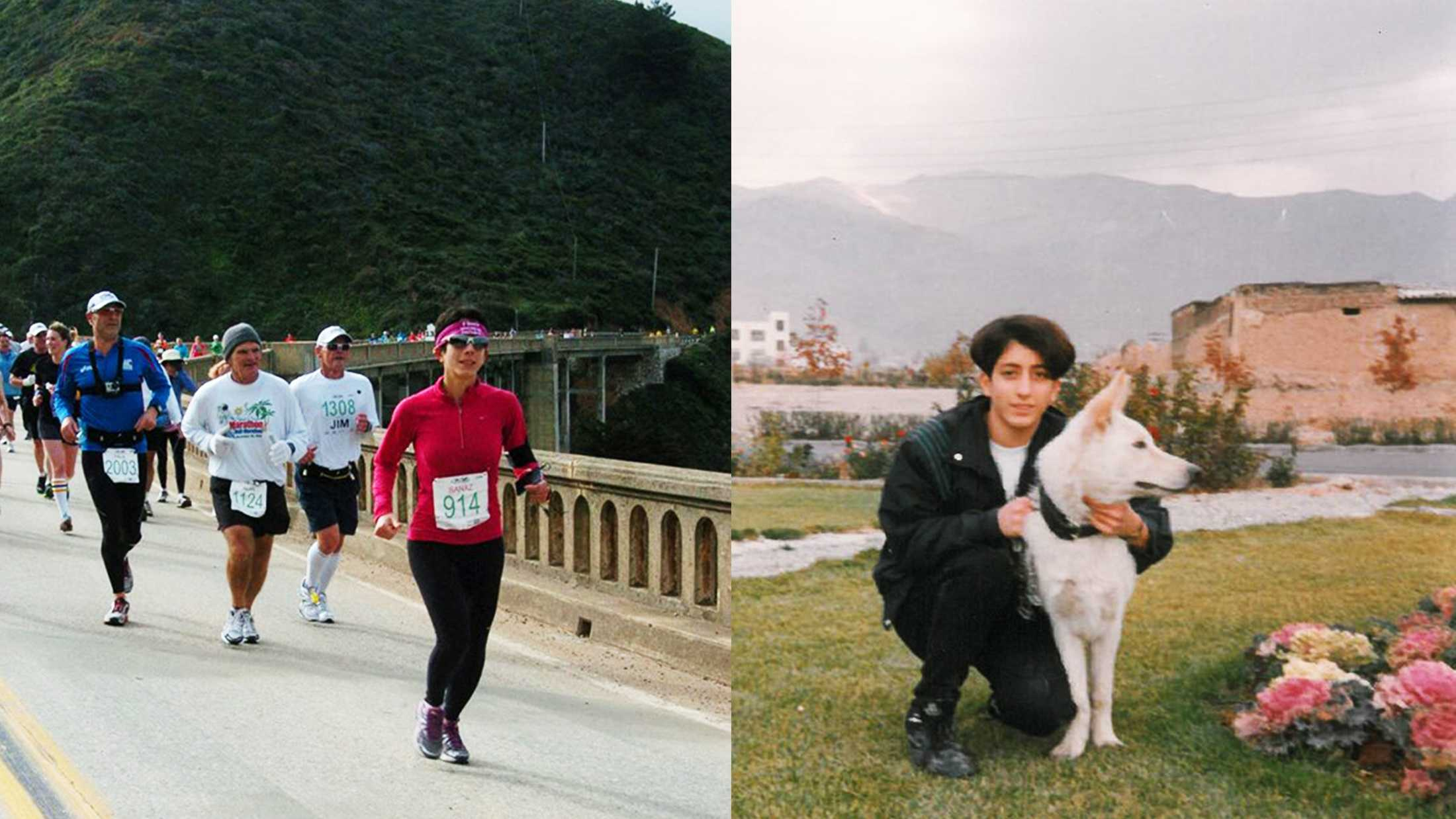 Sanaz Tofighrad is seen on the right in Iran, and on the left running the Big Sur International Marathon.