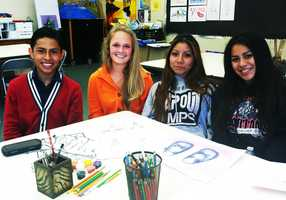 Miguel Martinez, Marissa Braxton, Sally Jimenez, and Areli Rico are four young artists at Marina High School.