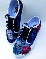 Areli Rico designed these skull and rose Vans shoes.