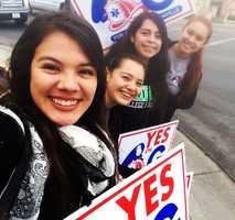 Supporters of Measure G in Watsonville smile on Tuesday. Measure G is devoted to public safety and a half-cent sales tax would be split 60/40: 60 percent for Watsonville police and 40 percent for Watsonville firefighters.