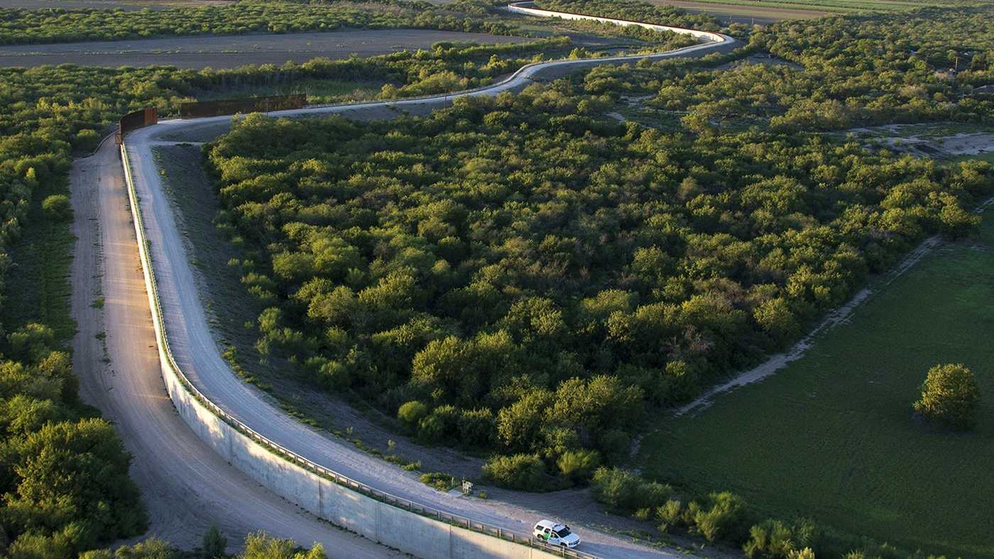 The South Texas McAllen Fenceline in the Rio Grande Valley divides the U.S. from Mexico.