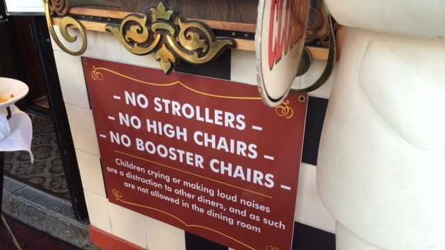One of the busiest restaurants on Fisherman's Wharf is sending a message through signs that prohibit strollers, high chairs, booster chairs at the restaurant.The signs Old Fisherman's Grotto also say that if children cry or make loud noises, they will be asked to leave.