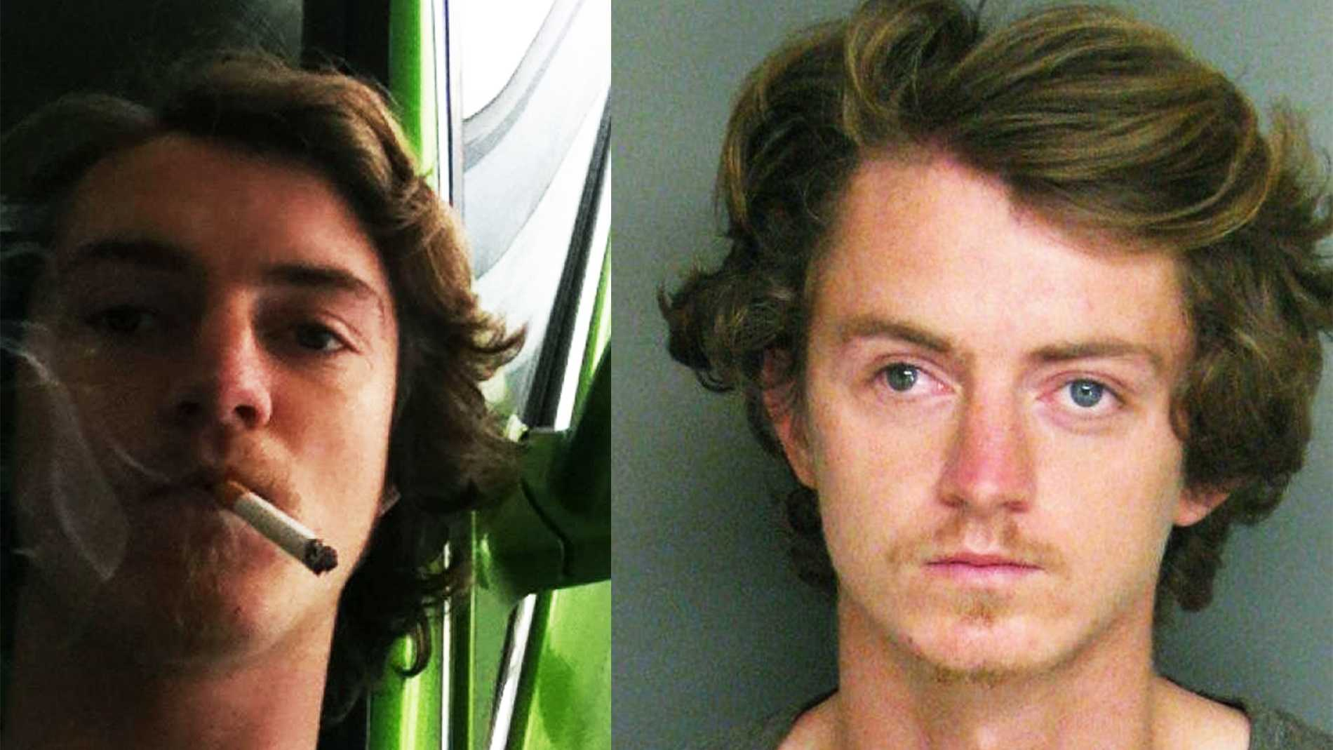 Harlan Dean Graves is seen smoking in a photo he uploaded on Facebook, left, and in a mug shot, right.