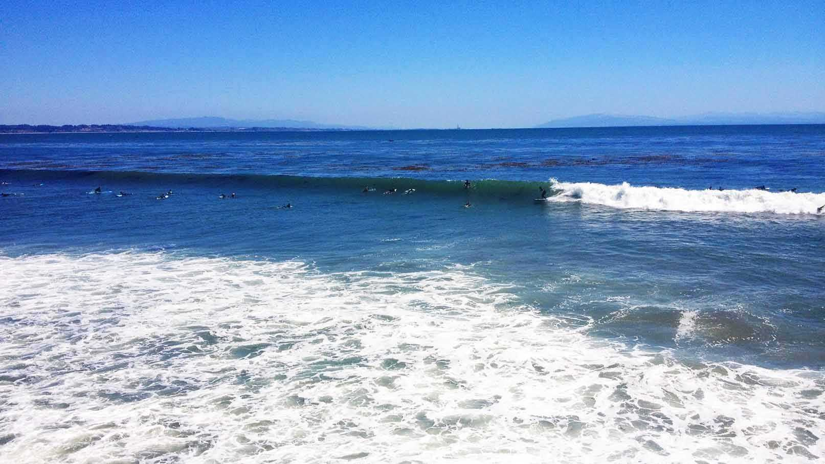 A hurricane off Mexico generated a fun-sized swell for surfers in Santa Cruz on Sunday.