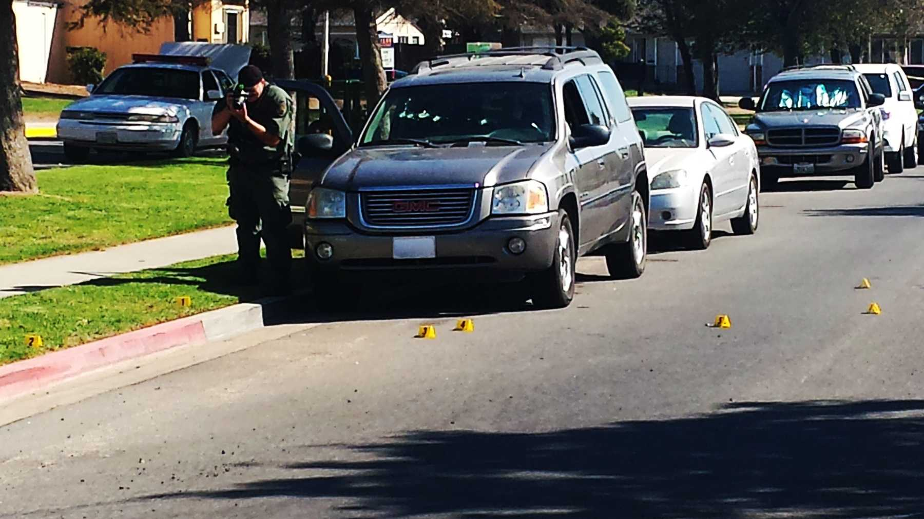 A man was shot in the chest while sitting in this SUV outside a Soledad school. (Sept. 3, 2014)