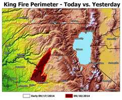 Map of King Fire spreading.