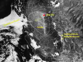 """The National Weather Service wrote, """"While the weather may be quiet this morning, there is a lot to look at on our satellite! Very noticeable is the smokiness to our east which is moving towards the Bay Area (Friday). There are several large fires burning in California, with the King Fire in El Dorado County continuing to be the largest."""""""