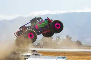 The airshow featured talented drivers in addition to pilots. A 17-year-old Watsonville girl is driving this pink Monster Truck.