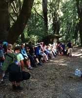 Monterey Bay Charter School's fifth grade class loads up at the trail head for a hike.