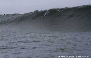 """60 (feet)? Jamie Mitchell takes off on a second reef Mavericks Monster and makes the drop. One of the biggest most critical waves I've seen ridden at Mavericks under human power,"" Quirarte said."