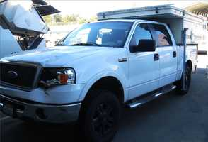 Lt. Bernie Escalante said Logan disguised his Ford F150 pickup truck, seen here, after the crash to evade authorities.