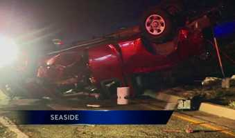 Police were searching on Friday for a driver who fled the scene after a crash in Seaside that killed his passenger.