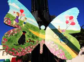 Butterflies were hand painted by 39 talented local artists and placed on light poles in downtown Pacific Grove.