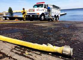 Forebay Fire - May 11  Water from the shrinking reservoir was key in helping firefighters get the fast-moving grass fire under control.